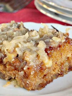 Texas Tornado Cake ~ What a delicious and easy sheet cake to make! This Cake is made with a can of fruit cocktail in the batter, then before you bake the cake you sprinkle a streusel topping with nuts over the top. After the cake comes out of the oven you add a boiled coconut topping and pour it on the cake while hot. Oh, soooo scrumptious! This wonderfully quick and easy recipe is also quite economical as you get 15 or so servings out of the cake for less than $10