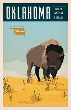 Vintage Oklahoma Series Poster #2 - Buffalo - OK State Animal