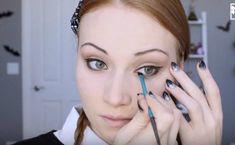 Step 5: Apply Black Eyeshadow On The Lower Lash Line   Wednesday Addams   Halloween Makeup Tutorial