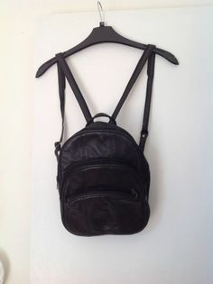 vintage leather black backpack rucksack bag medium indie 90's