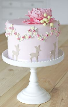 cake with peony topper, flower wreath and bambi by petite homemade