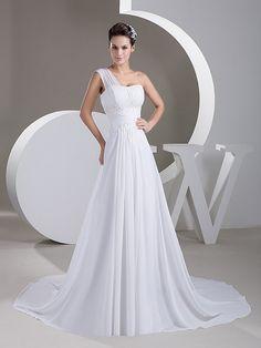 Nickola - robe de mariée a-ligne traîne moyenne en mousseline polyester avec appliqués