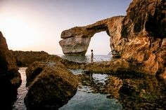 Beautiful Azure window in Gozo, Malta. Fantastic pics by © Michael Jurick Malta Gozo, Malta Island, New York Photographers, Holiday Pictures, Archipelago, Beautiful Islands, Travel Photography, Places To Visit, Around The Worlds