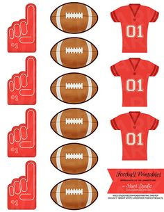 13 Red FOOTBALL PARTY Printables Tags / Labels / by HuesPrintables