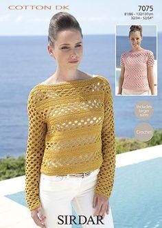 7075 Sirdar Cotton DK Sweaters Crochet Pattern