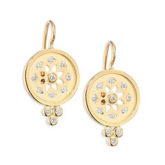 Temple St. Clair Mandala Diamond  18K Yellow Gold Cutout Earrings ($2,750) ❤ liked on Polyvore featuring jewelry, earrings, gold, gold earrings, 18k earrings, yellow gold earrings, floral earrings and 18k gold earrings
