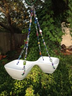 Modern China Double Bowl Bird Feeder Bird by HappyChickCreations, $26.00