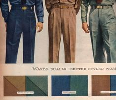 1947 mens medium weight work pants in cotton twill. Colors are more diverse.