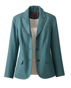 Herringbone tweed jacket - classic look but very feminine also - nice color