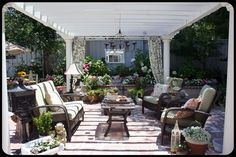 Love this space ~ The Old Painted Cottage ~ November 2011 Cottage of the Month Indoor Outdoor Kitchen, Outdoor Rooms, Outdoor Decor, Outside Living, Outdoor Living Areas, Patio Seating, Seating Areas, Porches, Outdoor Landscaping