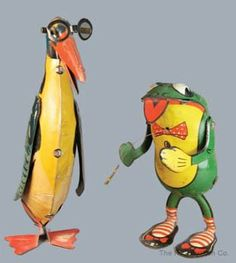 311: WINDUP PENGUIN with GLASSES & FROG CHASING FLY : Lot 311