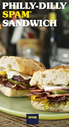 Philly: It's the city of brotherly love and Philly Dilly SPAM® Sandwiches. Spam Recipes, Low Carb Recipes, Easy Recipes, Great Recipes, Cooking Recipes, Favorite Recipes, Diner Recipes, Budget Recipes, Beef Recipes