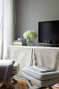 skirted table / x benches for the tv room