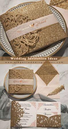 Glitter rose gold laser cut wedding invitation with pocket inserts EWWS277
