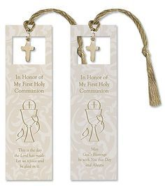 First Communion Bookmark; could also use as a favor for party guests after the service. First Communion Decorations, Boys First Communion, Confirmation Cards, Baptism Party, Baptism Ideas, Baptism Gifts, Communion Favors, Eucharist, Christening