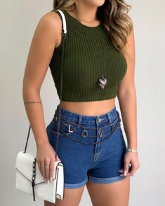 Cute Outfits With Jeans, Cute Casual Outfits, Short Outfits, Stylish Outfits, Fashion Outfits, School Uniform Outfits, Clothes, Shoulder Length, Cotton Spandex