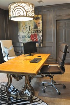 15 Home Office Color Scheme Ideas : black vintage office. color ideas,Decorating Ideas,home office ideas Home Office Space, Home Office Design, Home Office Decor, House Design, Home Decor, Office Ideas, Office Designs, Men Office, Office Spaces