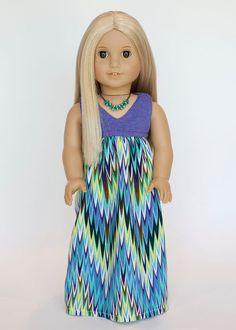 American girl doll Salina maxi dress chevron by EverydayDollwear, $19.00