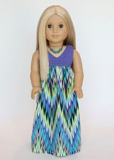American girl doll Salina maxi dress  chevron by EverydayDollwear, $19.00