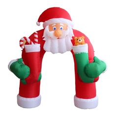 details about giant christmas archway santa claus 11ft inflatable led lighted outdoor decor