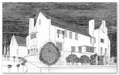 The Hill House illustrated by Mackintosh. Not only an architect and designer, Mackintosh was also an extremely talented draftsman and artist.