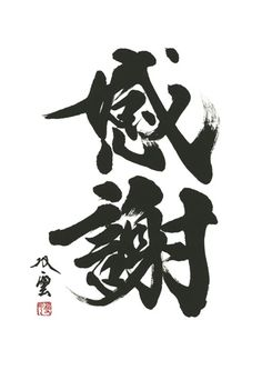 "感謝 ~ kansha / かんしゃ / gratitude | (Japanese pronunciation is → kan-sha) Kanji Japanese Calligraphy meaning ""gratitude; or utmost appreciation"" Japanese Calligraphy, Calligraphy Letters, Kanji Japanese, Japanese Words, Japanese Style, Poster Fonts, Tinta China, Buddha Art, Fine Art"