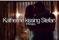 Katherine kissing Stefan