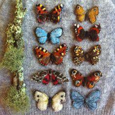Wool butterflies #wool #butterfly #felted #handmade #heligan #cornwall Soft Sculpture, Sculptures, Needle Felting, Objects, Butterfly, Handmade Items, Textiles, Diy Crafts, Wool