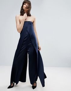 11 jumpsuits you should we wearing to all of your events, like this satin bandeau jumpsuit.