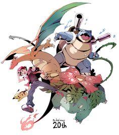 Trainer Red, Pikachu, Charizard, Blastoise, and Venusaur