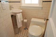 Small Bathroom Renovations With White And Black Pentagon Floor