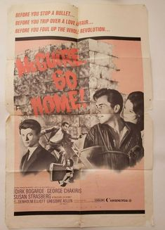 "MCGUIRE GO HOME ! 1965 Original Movie Poster One Sheet 27"" x 41"" Dirk Bogarde George Chakiris, Original Movie Posters, Tape, The Past, The Originals, Ebay, Duct Tape, Ribbon"