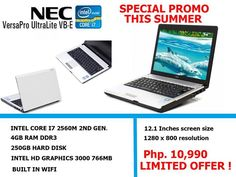Summer sale hot deal at pc trading online shop  NEC Versapro VB-b  5 PCS and up we give big discount  php.10,990 only  php.10,990 only php.10,990 only  php.10,990 only  php.10,990 only php.10,990 only   SPECIFICATION  : Intel core i7 2637M 1.7ghz : 4 gb ram ddr3 : 250gb hard disk : 12.1 inches screen size  : intel HD Graphics 3000 1.7gb ONBOARD  : 1280 x 800 Screen Resolution  : Built In Wifi   Warranty : 3 months warranty replacement  1 year service warranty   Visit our store : 2nd Floor…
