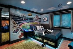 Exciting Teenage Boys Bedrooms Design Ideas Photo. Teenage Boys Room Ideas with The Neon Lights Beneath The Beds. 9 Exciting Teenage Boys Bedrooms Design Ideas and Teenage boys room ideas with the neon lights beneath the beds. This room is a design for a Yankee fan. Yankee themed wall decor strongly suggests it. Grass carpet is covering most of the ground floor rooms.