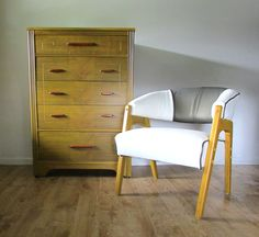 Refinished art deco dresser and mid-century club chair - mustard finish with leather simile and brass vinyl