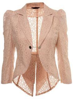 Shop soft touched feminist lace jackets lace jacket miss selfridge nude lace tails jacket - shopstyle blazers ZYWGTCK Lace Blazer, Lace Jacket, Pink Jacket, Beige Blazer, Casual Blazer, Blazer Outfits, Blazer Fashion, Uk Fashion, Sleevless Blazer