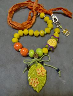 RESERVED - Ceramic Floral Necklace - Artisan Ceramic Pendant/Necklace, Fire Polished and Lampwork Bead - Sari Silk - Owl Charm - SRAJD