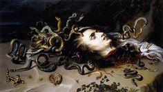 The Head of Medusa - Peter Paul Rubens.  c.1617-18.  Oil on panel.  68.5 x 118 cm.  Kunsthistorisches Museum, Vienna, Austria.