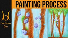 Painting Cute Little Owl Birds on Trees over Dripping Base - Acrylic Pai...
