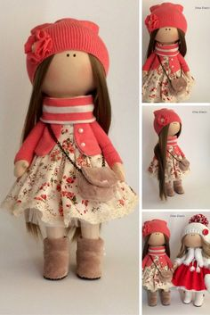 Textile doll Handmade doll Fabric doll coral color doll Soft doll Cloth doll…