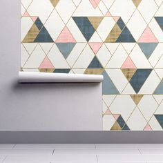 Mod Triangles Gold Pink Blue custom wallpaper by crystal_walen for sale on Spoonflower Bedroom Wallpaper Accent Wall, Office Wallpaper, Modern Wallpaper, Geometric Wallpaper, Vinyl Wallpaper, Textured Wallpaper, Pattern Wallpaper, Wallpaper For Walls, Peal And Stick Wallpaper