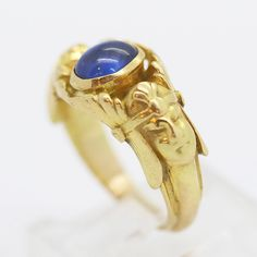 Antique Archaeological Egyptian Revival Ring 18K Gold Sapphire French 6034 | eBay