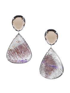 "Samantha Elizabeth Smokey Quartz Drop Earrings by Dana Rebecca on Gilt.com • 14K white gold and smokey quartz earrings with pear shaped super seven quartz drops • 2½""L x 1.4""W• Post back closure • Imported"