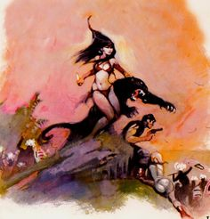This piece is by Frank Frazetta, legend of fantasy art. Description from pinterest.com. I searched for this on bing.com/images