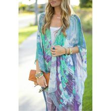 Sexy Floral Kimono Cardigan Womens Fashion Clothing 2015 Womens Printed Blouses Blusa Chiffon Feminina Ropa De Mujer Tunique