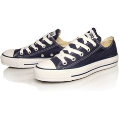Converse Navy Chuck Taylor All Star Low Trainers ($64) ❤ liked on Polyvore featuring shoes, sneakers, converse, chaussures, zapatos, star sneakers, converse sneakers, canvas shoes, lacing sneakers and low sneakers