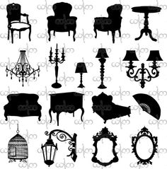 Baroque Object and Furniture Silhouettes Clip Art Graphic Design Pattern for your art projects
