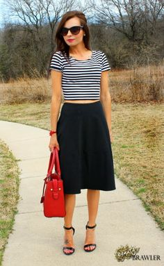 Crop Top, Flared Skirt & Stappy Heels  @Forever 21 @Payless ShoeSource #Stripes #BeautyBrawler