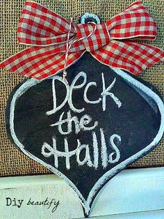 Easy DIY Chalkboard Ornament with red gingham bow at DIY beautify