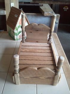 Reconstructed from a broken chair. cute doll bed.